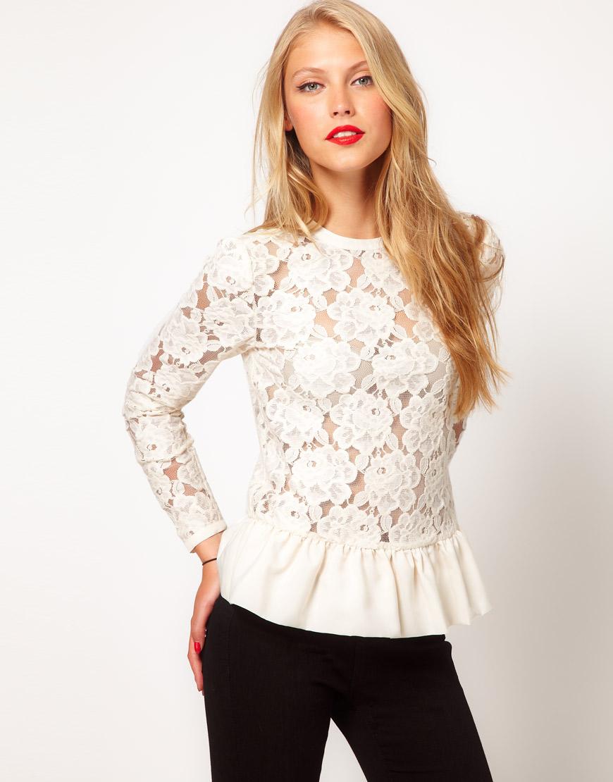 Гипюровые блузки (57 фото блузок из гипюра модели, с гипюровыми вставками)